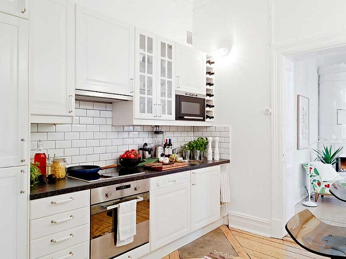Белая кирпичная стена на кухне, фото 29