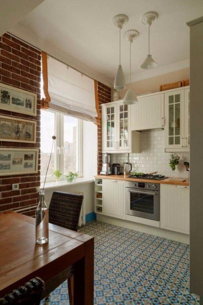 Белый кирпич в интерьере кухни, фото 31