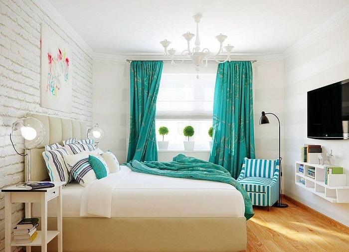 Белая кирпичная стена в интерьере спальни, фото 40