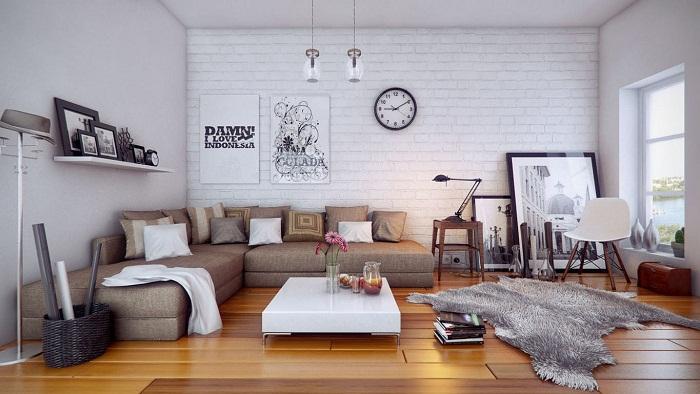 Белый кирпич в интерьере гостиной, фото 24