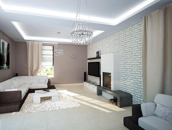 Белый кирпич в интерьере гостиной, фото 25