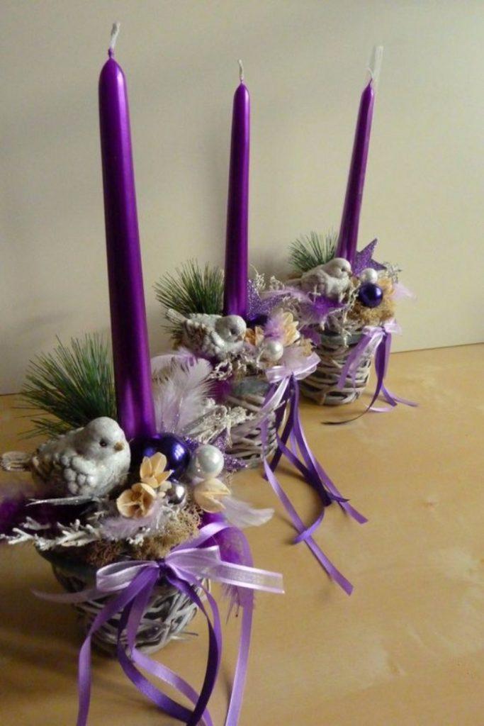 новогодний декор свечей, фото 40