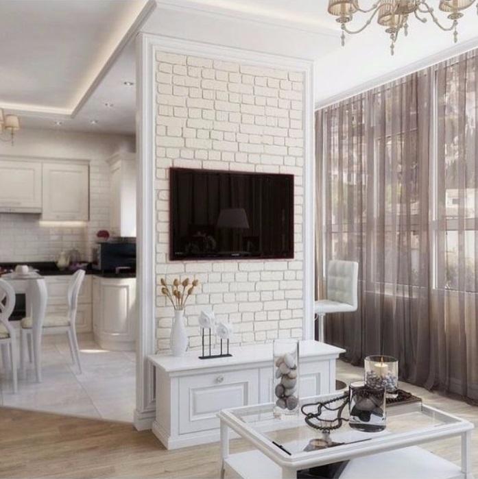 Белая кирпичная стена на кухне, фото 19