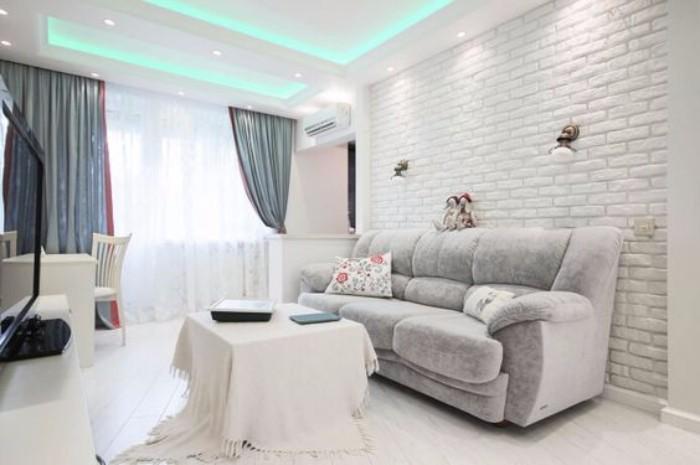 Белый кирпич в интерьере гостиной, фото 17