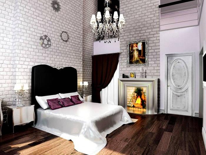 Белая кирпичная стена в интерьре спальни, фото 20