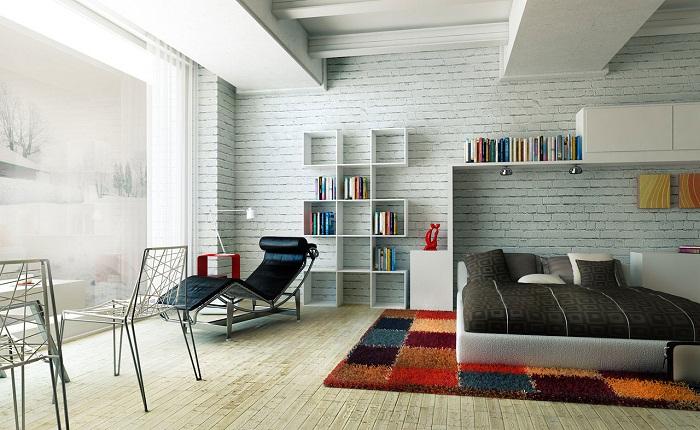 Стена из белого кирпича в интерьере, фото 23
