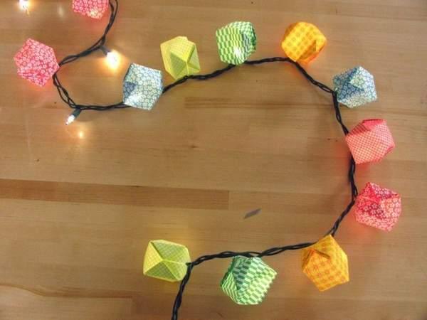 новогодние игрушки из бумаги своими руками гирлянды, фото 35