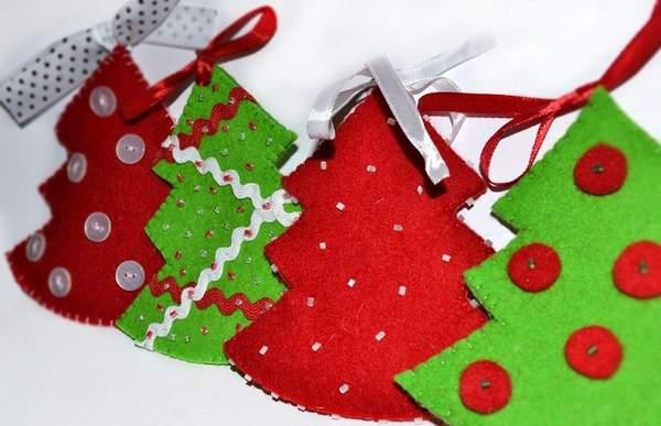 игрушки своими руками из фетра новогодние плоские, фото 18