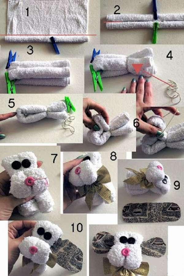 Как сделать собачку из полотенца своими руками