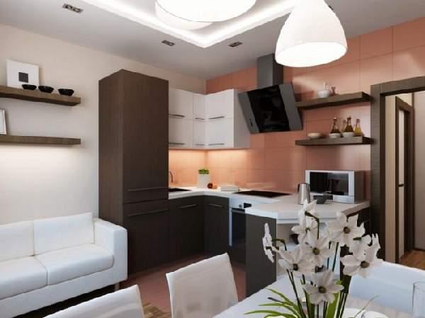 Кухня гостиная 20 кв м, фото 40