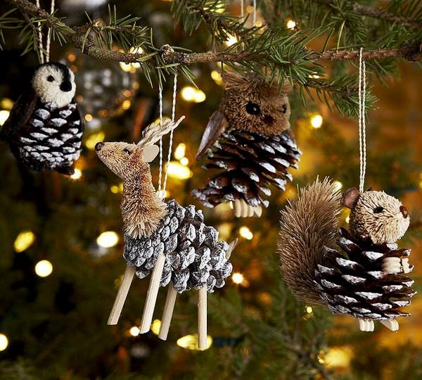 новогодние игрушки из шишек своими руками, фото 15