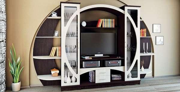 Фото стенки в гостиную в современном стиле с телевизором