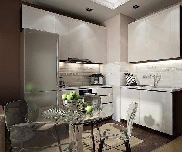 Дизайн квадратной кухни 20 кв м, фото 23