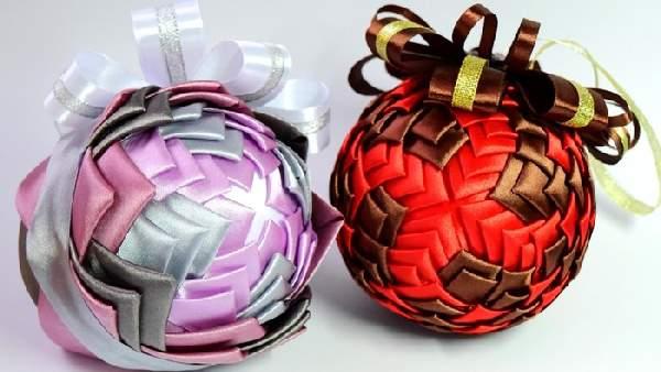 новогодние игрушки из атласной ткани своими руками, фото 24