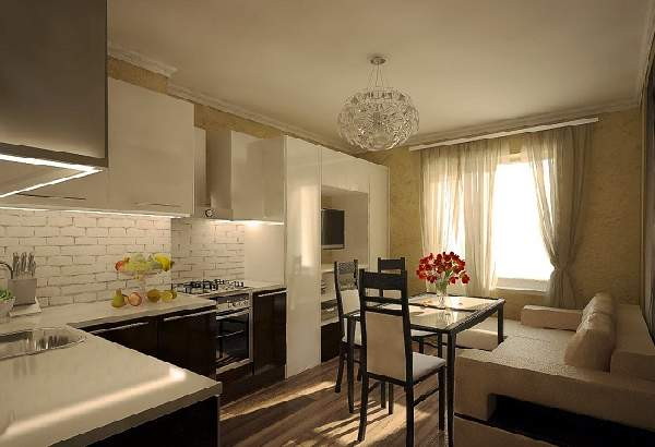 Прямоугольная кухня гостиная 20 кв м дизайн, фото 15