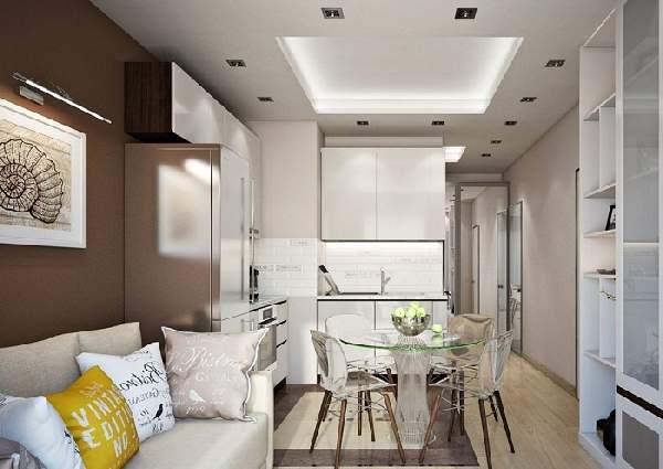 Прямоугольная кухня гостиная 20 кв м дизайн, фото 16