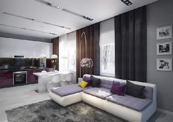 Прямоугольная кухня гостиная 20 кв м дизайн, фото 17