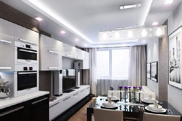 Прямоугольная кухня гостиная 20 кв м дизайн, фото 18