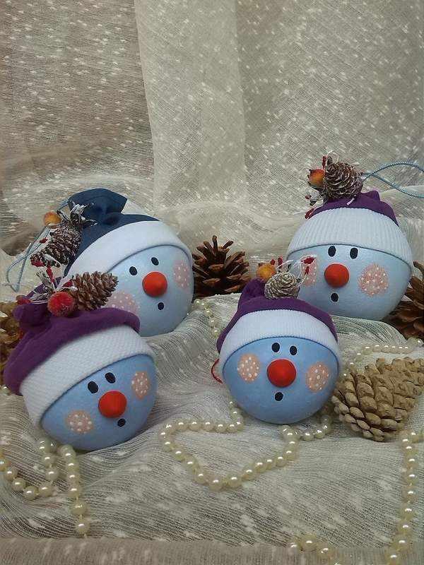 новогодние игрушки своими руками из пенопластовых шариков, фото 18