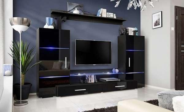черная стенка в гостиную в современном стиле, фото 13