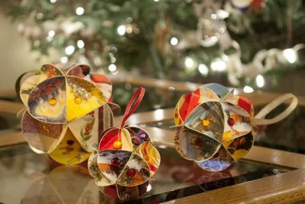 новогодние елочные игрушки из бумаги своими руками, фото 10