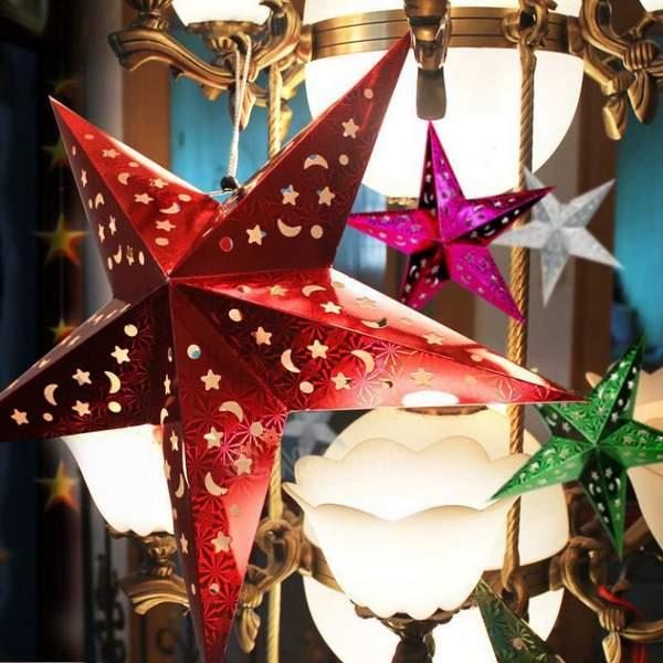 новогодние игрушки из бумаги своими руками гирлянды, фото 44