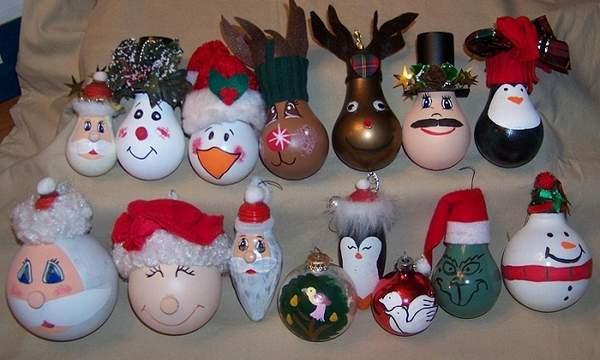 Оригинальные новогодние игрушки своими руками на елку из лампочек, фото 18