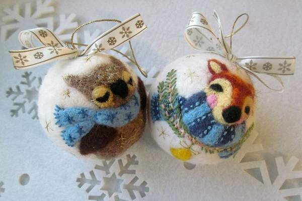 валяные новогодние игрушки своими руками, фото 44