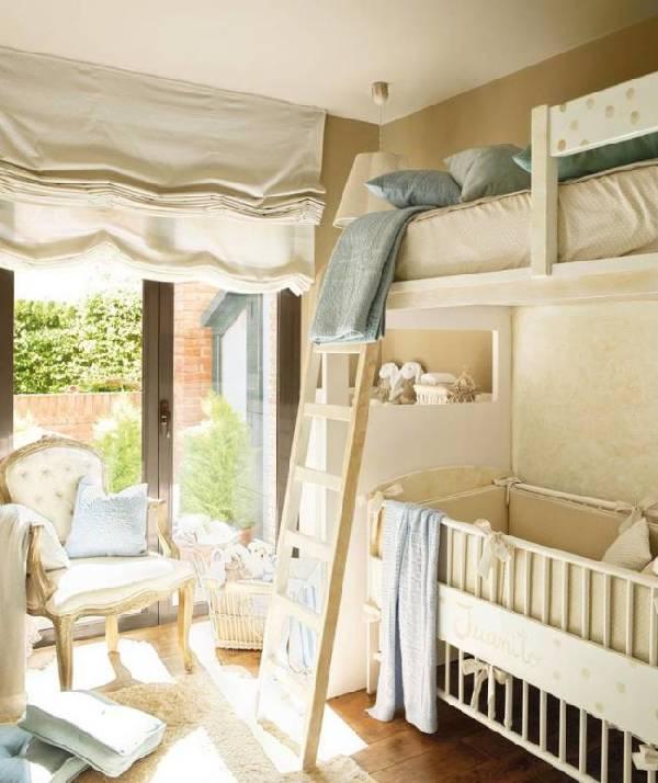 интерьер детской комнаты с двухъярусной кроватью, фото 14
