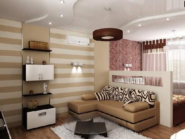 зонирование обоями однокомнатной квартиры фото, фото 14