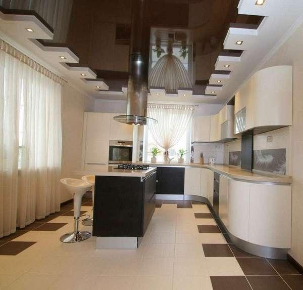 потолки из гипсокартона на кухню, фото 38