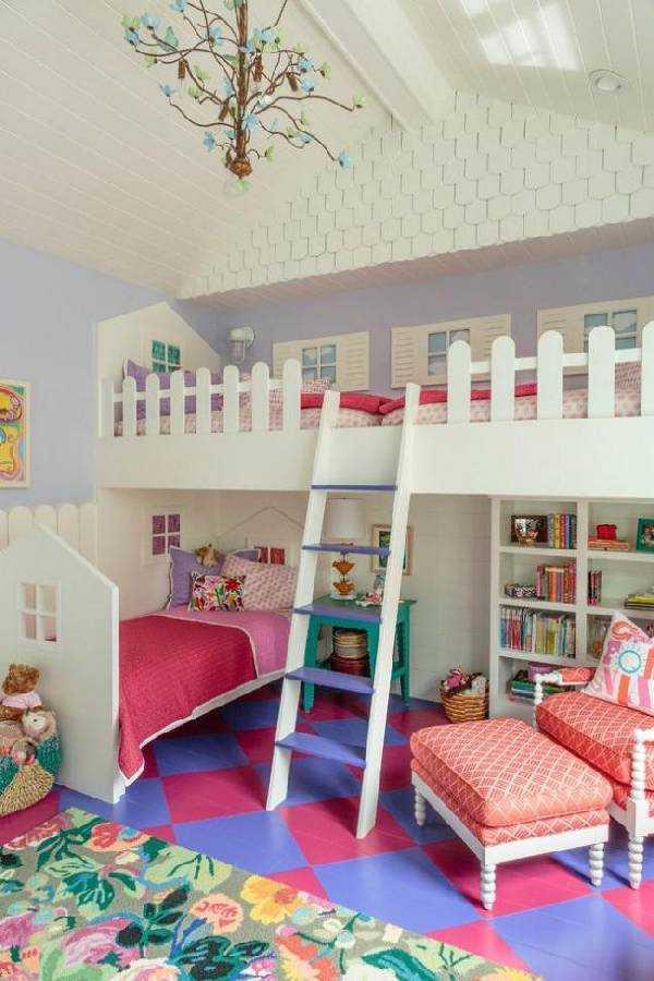 интерьер детской комнаты с двухъярусной кроватью фото, фото 39