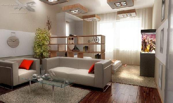 интерьер однокомнатной квартиры с ребенком зонирование фото, фото 38