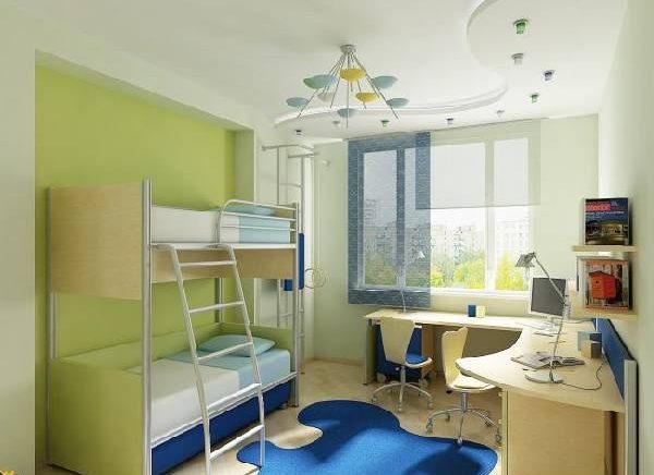 интерьер детской комнаты с двухъярусной кроватью, фото 50