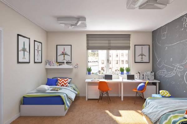интерьер маленькой детской комнаты для двоих детей, фото 51