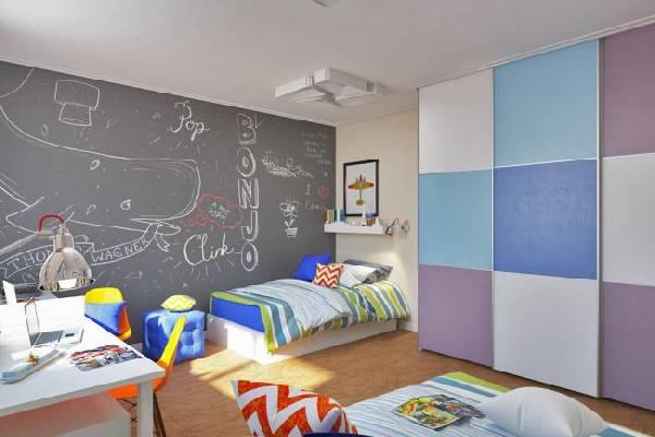 интерьер маленькой детской комнаты для двоих детей, фото 52