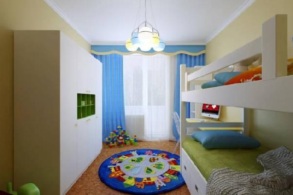 интерьер маленькой детской комнаты для двоих детей, фото 53