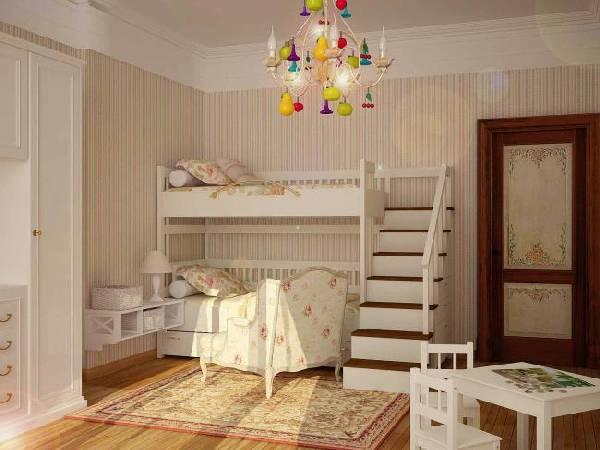 интерьер маленькой детской комнаты для двоих детей, фото 57
