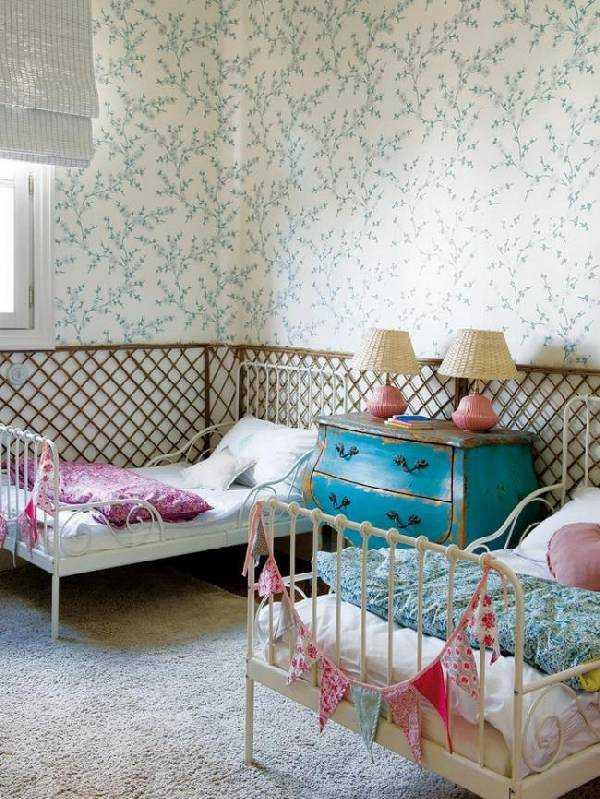 интерьер детской комнаты с двумя кроватями, фото 59
