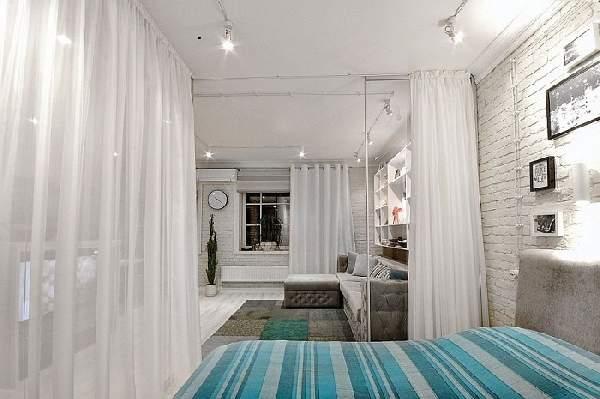 зонирование шторами однокомнатной квартиры: фото, фото 18