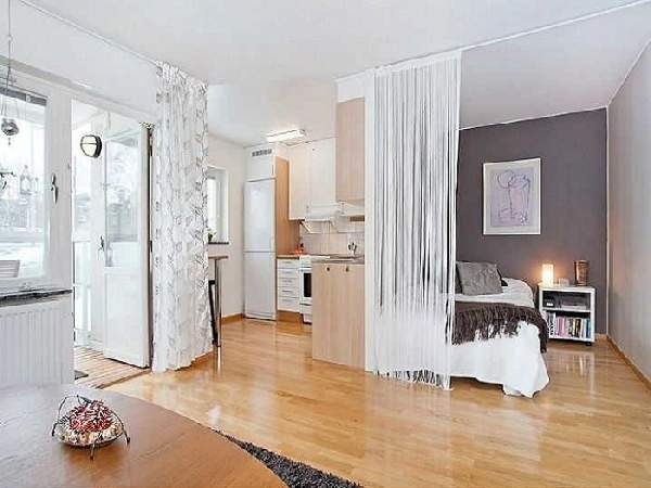 зонирование шторами однокомнатной квартиры: фото, фото 19
