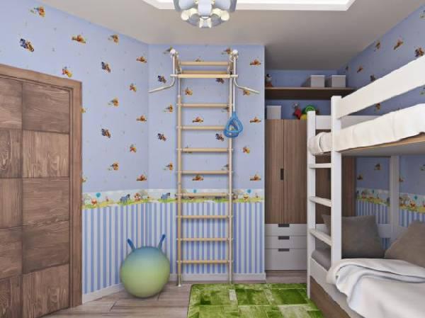 интерьер маленькой детской комнаты для двоих детей, фото 61