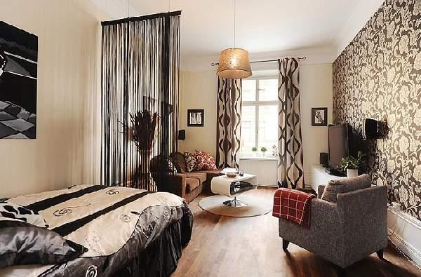 зонирование шторами однокомнатной квартиры: фото, фото 22