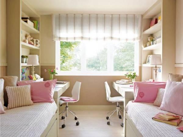интерьер узкой детской комнаты для двоих детей, фото 63