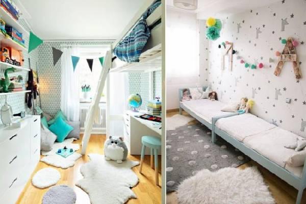 интерьер узкой детской комнаты для двоих детей, фото 66