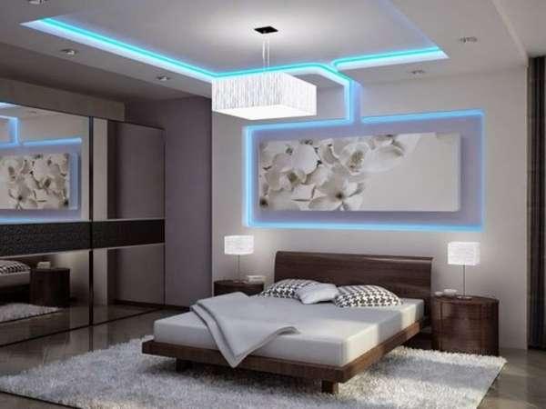 двухуровневые потолки из гипсокартона с подсветкой фото, фото 10