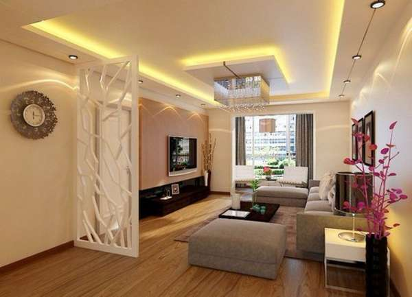 двухуровневые потолки из гипсокартона с подсветкой фото, фото 11
