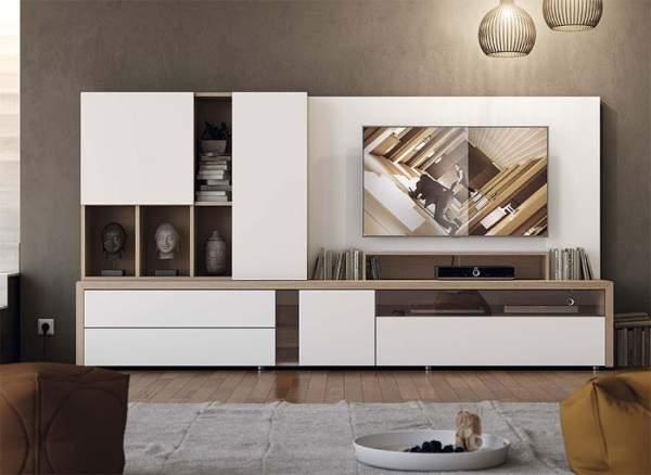 белая стенка в гостиную в современном стиле, фото 8