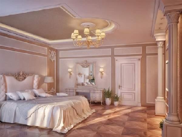 белые натяжные потолков спальне, фото 33