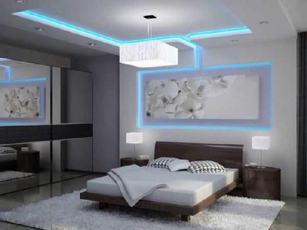 натяжной потолок для спальни двухуровневый, фото 26